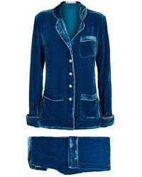 Olivia Von Halle Velvet Metallic Trim Pajama Set - Blue