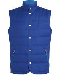 Kiton Wool Padded Gilet - Blue