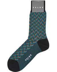 Falke Herringbone Print Socks - Black