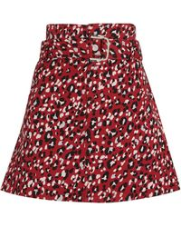 MAX&Co. Leopard Print Belted Mini Skirt - Red