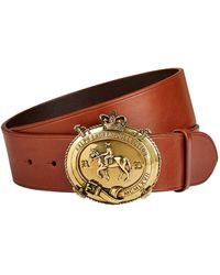 Ralph Lauren Purple Label Logo Plaque Leather Belt - Brown