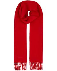 Harrods Fringed Wool Scarf - Red