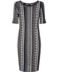 St. John - Knitted Tweed Midi Dress - Lyst