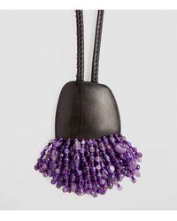 Eskandar Amethyst Stranded Pendant Necklace - Purple