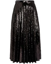 N°21 Sequin-embellished Pleated Skirt - Black