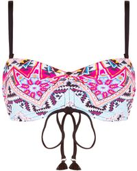 Seafolly - Aztec Patterned Bandeau Bikini Top - Lyst