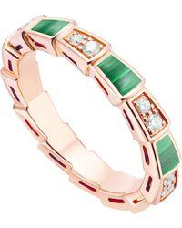 BVLGARI Rose Gold, Malachite And Diamonds Serpenti Viper Ring - Metallic