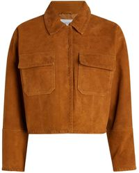 Claudie Pierlot Suede Cropped Jacket - Brown