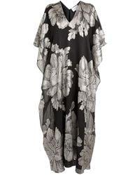 Marie France Van Damme Metallic Flower Beach Dress - Black