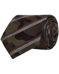 Valentino | Striped Camouflage Silk Tie, Red, One Size | Lyst