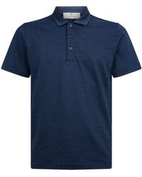 Canali Speckled Polo Shirt - Blue