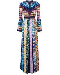 25886044be2a Mary Katrantzou Desmine Printed Satin Maxi Dress in Green - Lyst