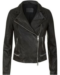 AllSaints - Conroy Leather Biker Jacket - Lyst