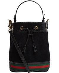 Gucci Small Suede Ophidia Bucket Bag - Black