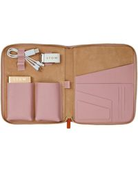 Stow First Class Leather Tech Case - Pink