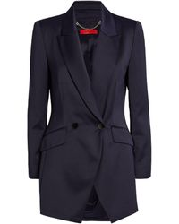 MAX&Co. Satin Double-breasted Blazer - Blue