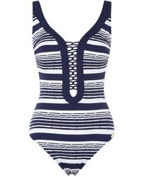 Maryan Mehlhorn - Cruise Stripe Laced Front Swimsuit - Lyst