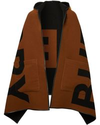 Burberry Reversible Jacquard Logo Hooded Cape - Brown