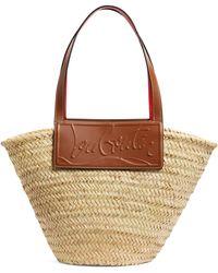 Christian Louboutin Loubishore Woven Straw Basket Bag - Red