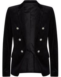 Balmain Velvet Button Jacket - Black