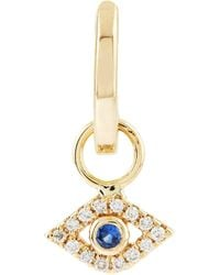 Sydney Evan - Yellow Gold And Diamond Bezel Evil Eye Huggie Hoops - Lyst