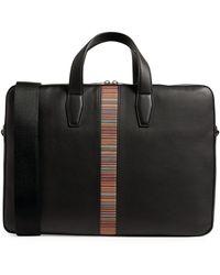 Paul Smith Leather Artist Stripe Briefcase - Black