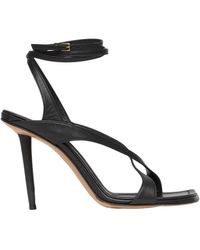 Burberry Leather Wrap-around Sandals 100 - Black