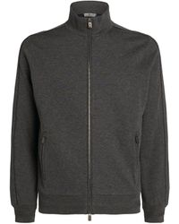 Canali Cotton-cashmere Zip-front Sweatshirt - Grey