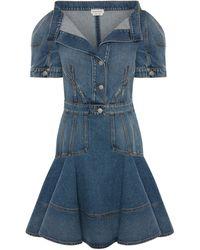 Alexander McQueen - Denim Mini Dress - Lyst