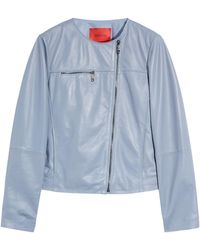 MAX&Co. Collarless Leather Jacket - Blue