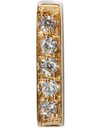 Vanrycke Yellow Gold Diamond Bar Single Earring - White