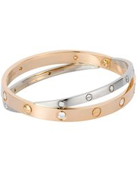 Cartier - White And Pink Gold Diamond Double Love Bracelet - Lyst