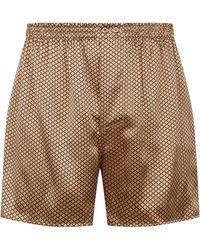 Zimmerli Flower Print Silk Boxer Shorts - Metallic