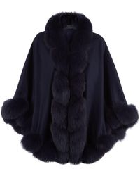 Harrods | Fox Fur Spiral Trim Cape, Navy | Lyst