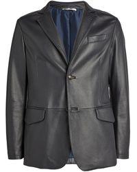 Pal Zileri Leather Blazer - Blue