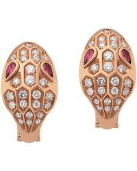 BVLGARI - Rose Gold Rubellite And Diamond Serpenti Stud Earrings - Lyst