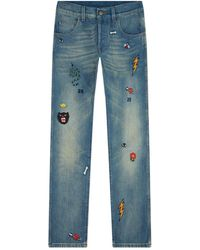 Gucci - Embroidered Tapered Jeans - Lyst