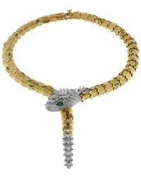 BVLGARI - Emerald And Diamond Serpenti Necklace - Lyst