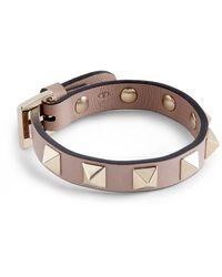 Valentino Leather Rockstud Bracelet - Brown