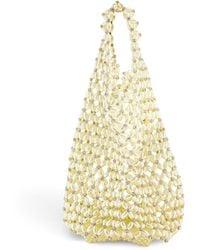 Simone Rocha Small Pearlescent Beaded Bucket Bag - White