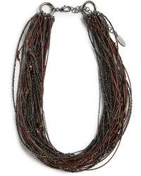 Brunello Cucinelli Beaded Multi-strand Necklace - Brown