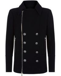 Balmain - Double-breasted Wool Coat - Lyst