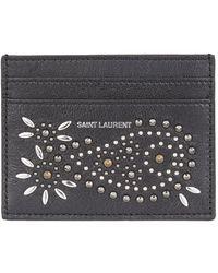 7018ac77f1a Saint Laurent Black Studded Eclair Card Holder in Black for Men - Lyst