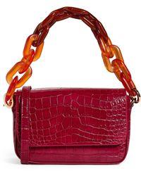 MAX&Co. Croc-embossed Shoulder Bag - Purple