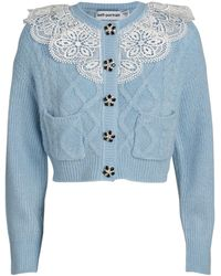 Self-Portrait Lace-embroidered Cardigan - Blue