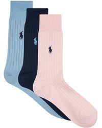 Ralph Lauren - Ribbed Crew Socks (pack Of 3) - Lyst