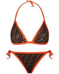 33c168f2b1 Fendi Intarsia-trimmed Printed Bikini in Brown - Lyst