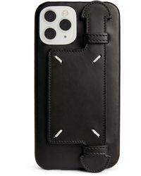 Maison Margiela Leather Four-stitch Iphone 12 Case - Black
