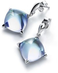Baccarat Silver And Crystal Mdicis Stud Earrings - Blue