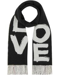 Burberry Love And Check Print Cashmere Scarf - Black